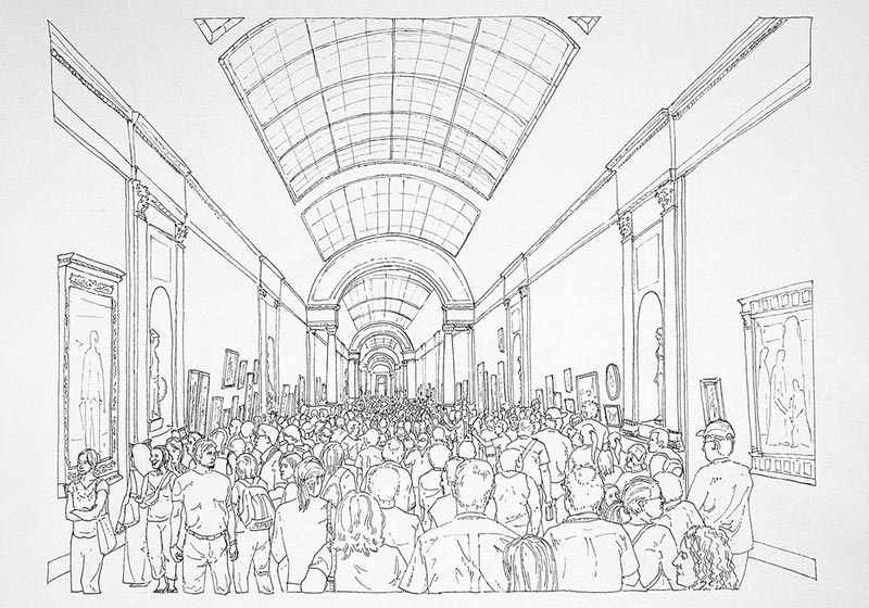 Art turizam #2, 2005, rapidograf na papiru, 35x50cm