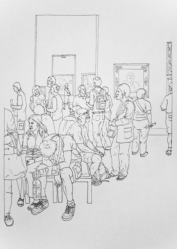 Art turizam #3, 2005, rapidograf na papiru, 50x35cm