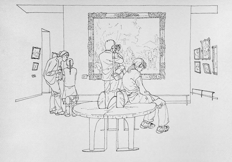 Art turizam #4, 2005, rapidograf na papiru, 35x50cm