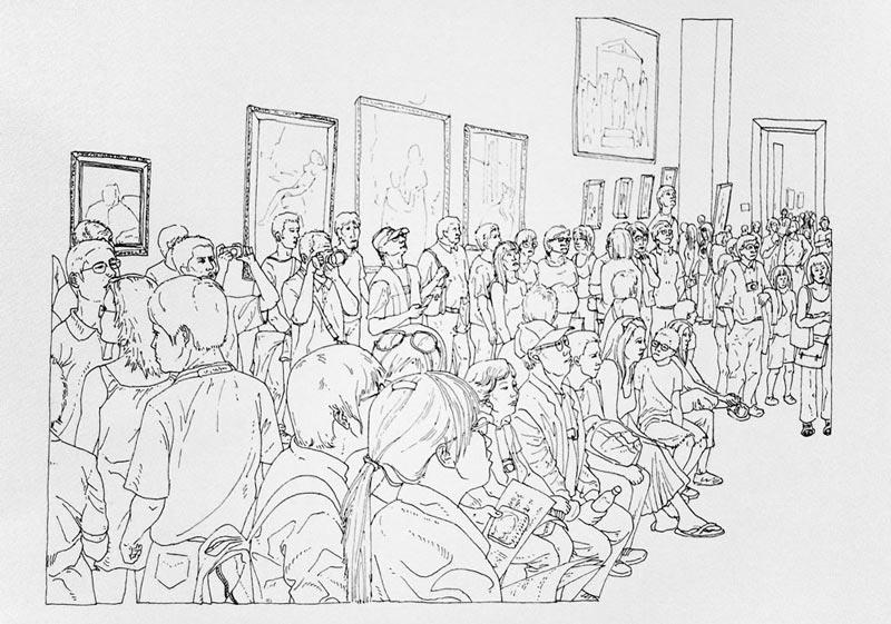Art turizam #5, 2005, rapidograf na papiru, 35x50cm