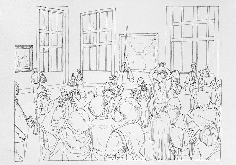 Art turizam #6, 2005, rapidograf na papiru, 35x50cm