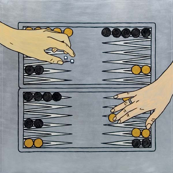 Backgammon, 2008, ulje na aluminijumu, 47x47cm