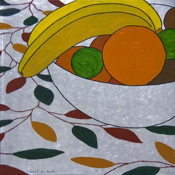 Činija sa voćem, 2008, ulje na aluminijumu, 47x47cm