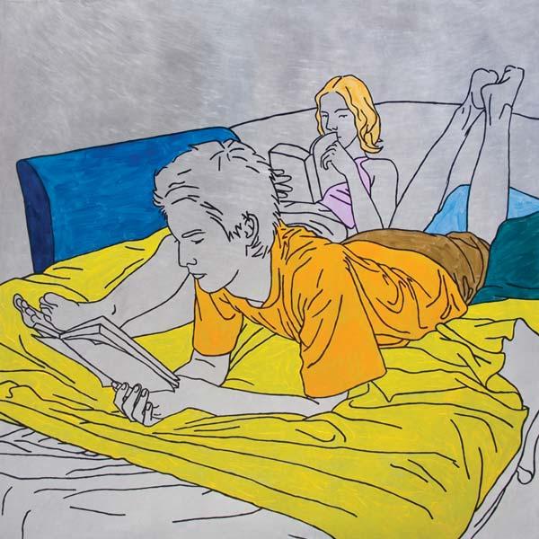 Čitanje, 2008, ulje na aluminijumu, 100x100cm