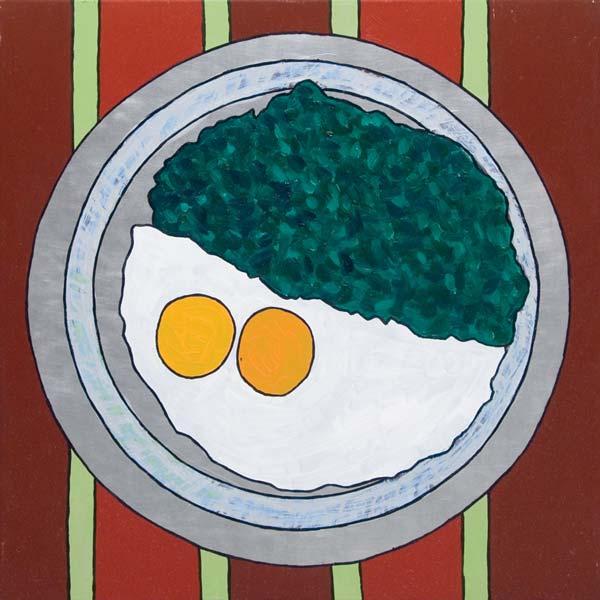 Jaje na oko, 2008, ulje na aluminijumu, 47x47cm