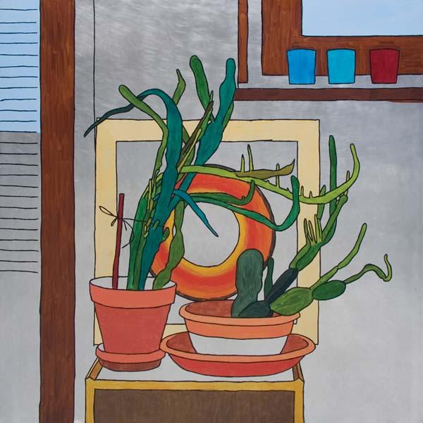 Kaktusi, 2008, ulje na aluminijumu, 100x100cm