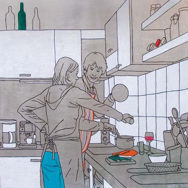 U kuhinji, 2008, ulje na aluminijumu, 100x100cm
