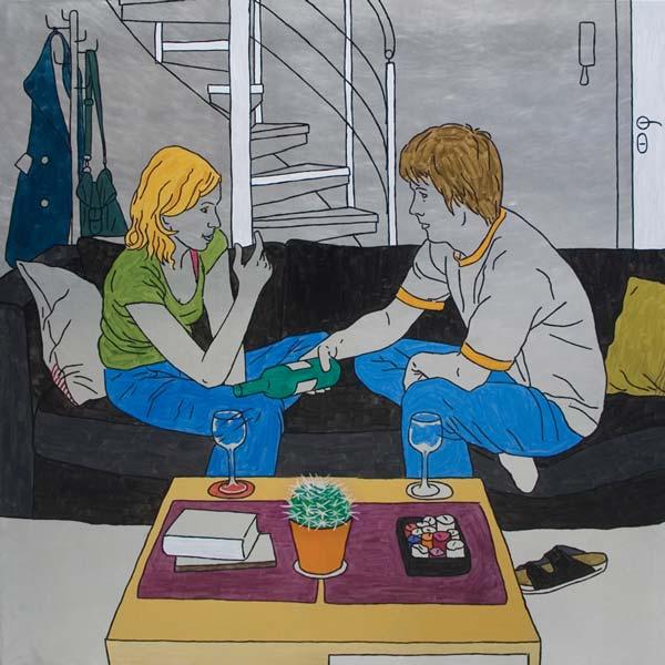 Vino i razgovor, 2008, ulje na aluminijumu, 100x100cm