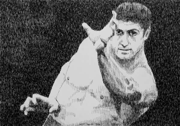 Kung Fu, 2010, rapidograf na papiru, 35x50cm