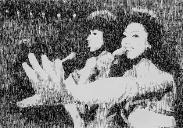Devojke pevaju, 2010, rapidograf na papiru, 35x50cm