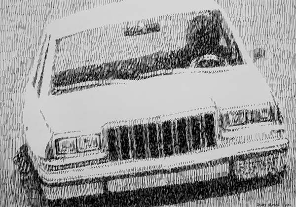 Automobil, 2010, rapidograf na papiru, 35x50cm