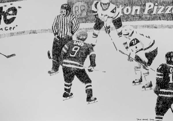 Hokejaši, 2010, rapidograf na papiru, 35x50cm