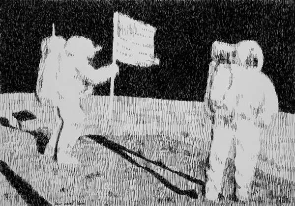 Ljudi na Mesecu, 2010, rapidograf na papiru, 35x50cm