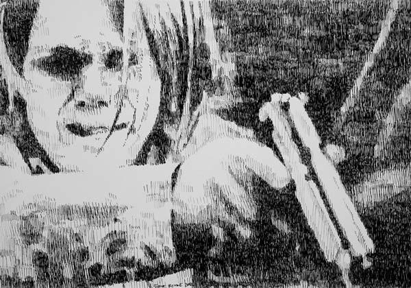 Žena sa pištoljem, 2010, rapidograf na papiru, 35x50cm