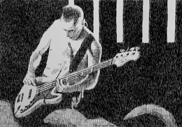 Basista, 2010, rapidograf na papiru, 35x50cm