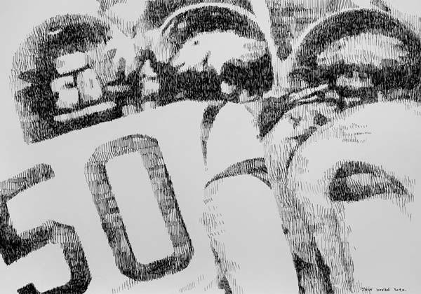 Američki fudbal, 2010, rapidograf na papiru, 35x50cm