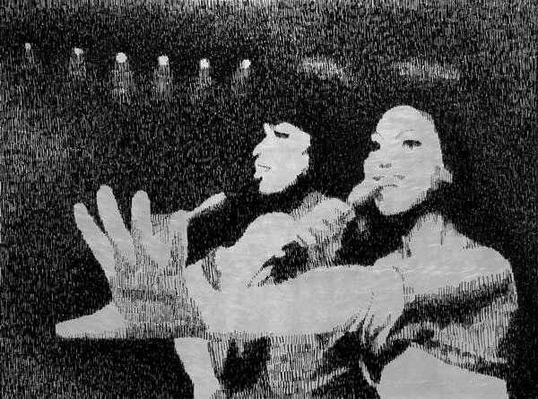 Devojke pevaju, 2010, industrijska boja na aluminijumu, 92x124cm