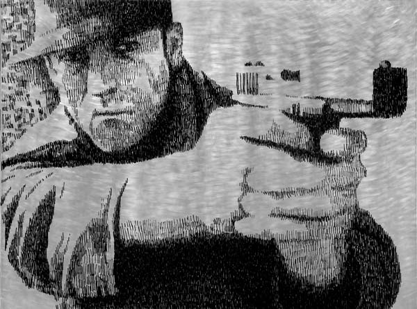 Muškarac sa pištoljem, 2010, industrijska boja na aluminijumu, 92x124cm