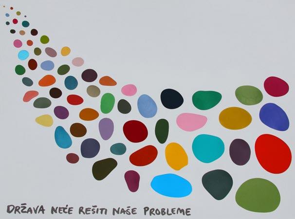 Država neće rešiti naše probleme, 2013, metalik boja na aluminijumu, 92x124cm