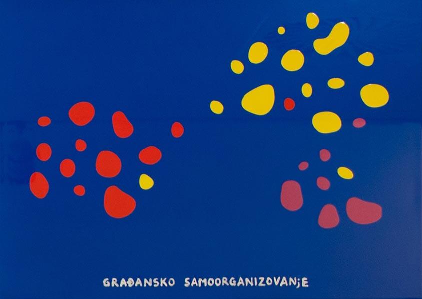 Građansko samoorganizovanje, 2013, metalik boja na aluminijumu, 46x64cm
