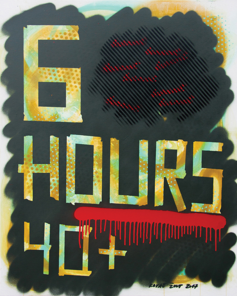 6 Hours 40+, 2017, sprej na platnu, 100x80cm