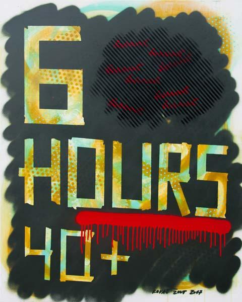 6 Hours 40+, 2017, spray on canvas, 100x80cm