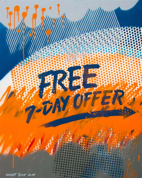 Free 7-Day Offer, 2017, sprej na platnu, 100x80cm