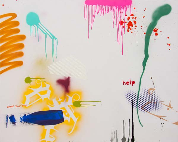 Help, 2017, acrylic and spray on canvas, 120x150cm