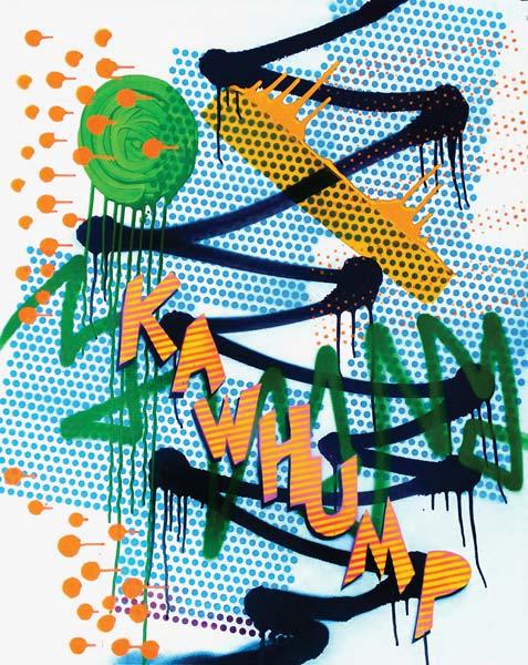 KAWHUMP, 2016, acrylic and spray on canvas, 100x80cm