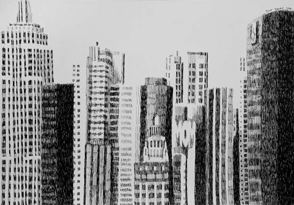 Skyscrapers, 2010, technical pen on paper, 35x50cm