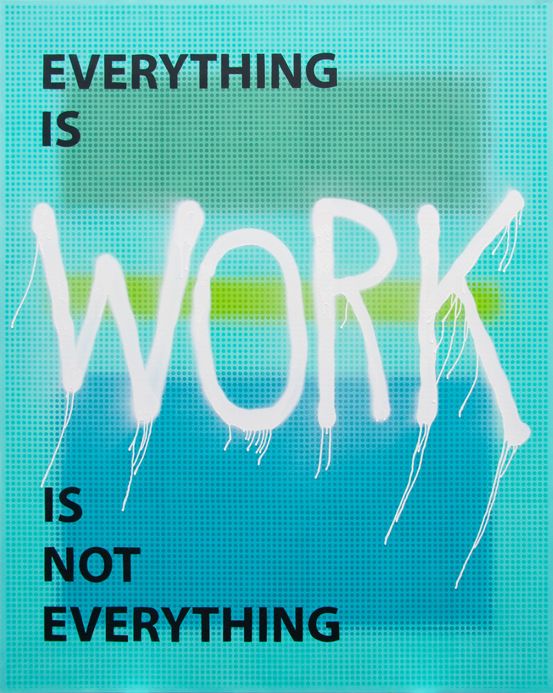 Everything Is Work Is Not Everything, 2019, spray paint on canvas, 225x180cm