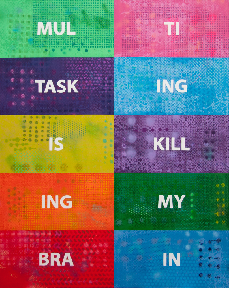 Multitasking Is Killing My Brain, 2019, spray paint on canvas, 225x180cm