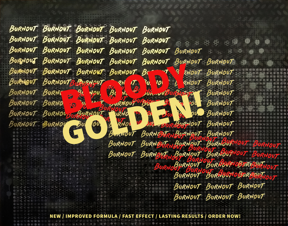 Bloody Golden Burnout!, 2019, spray paint on canvas, 120x150cm