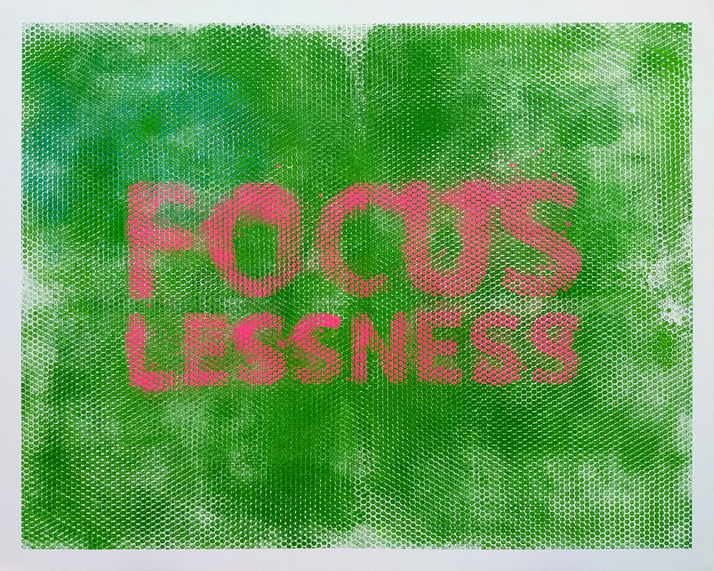 Focuslessness, 2019, spray paint on canvas, 120x150cm