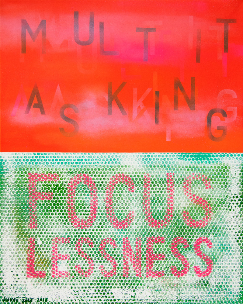 Multitasking Focuslessness, 2018, spray paint on canvas, 100x80cm
