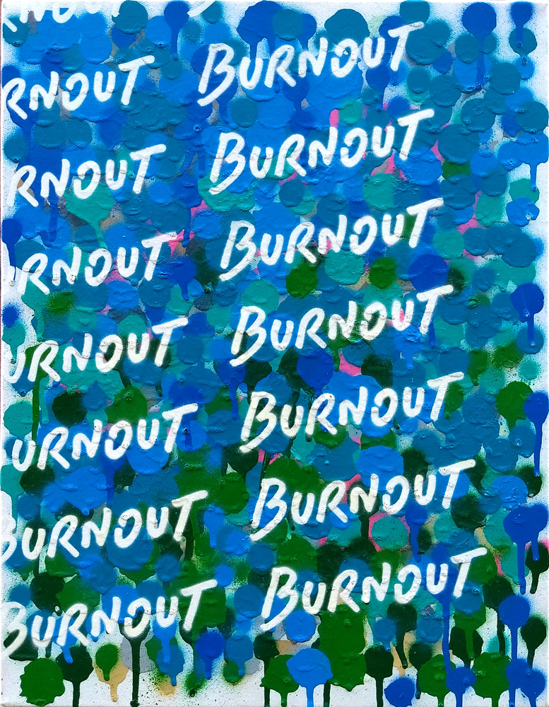 Burnout, 2019, spray paint on canvas, 45x35cm